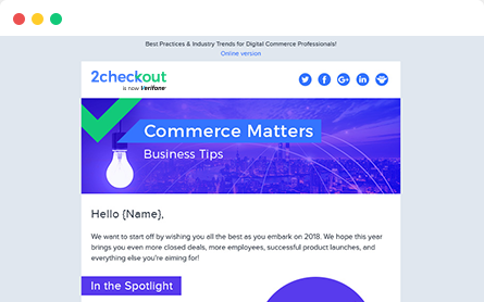 Sign-up for the 2Checkout Newsletter